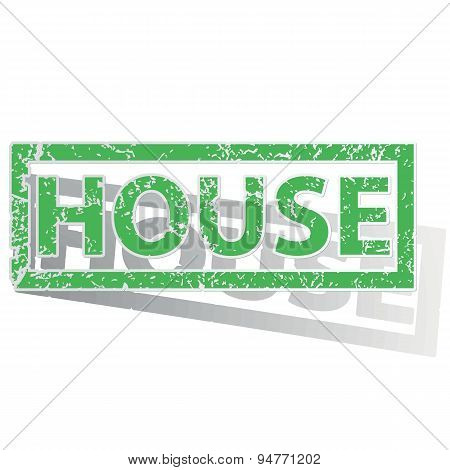 Green outlined HOUSE stamp