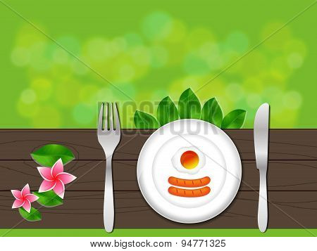 Breakfast In Plate With Fork And Knife, Breakfast Vector