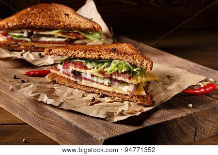 Two sandwich on old papper