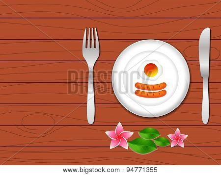 Breakfast In Plate On Wood Table, Breakfast Vector
