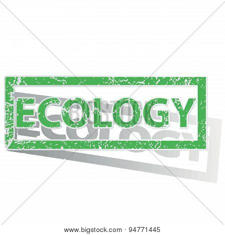 Green outlined ECOLOGY stamp