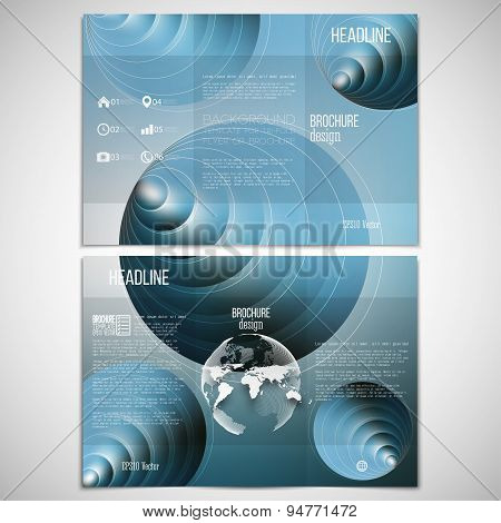 Vector set of tri-fold brochure design template on both sides with world globe element. Circles patt