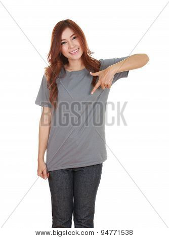 Young Beautiful Female With Blank T-shirt
