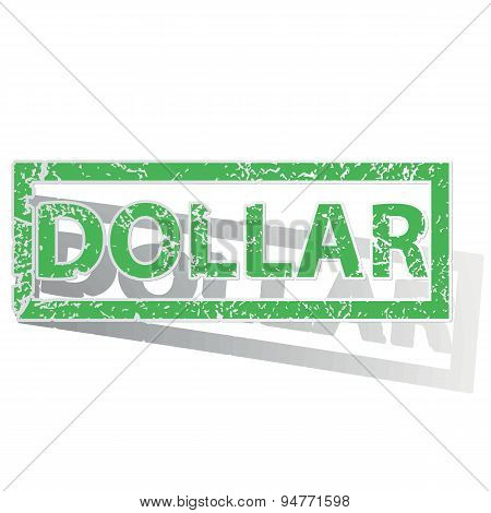 Green outlined DOLLAR stamp