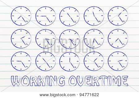 Series Of Clocks Showing Time Passing By; Working Overtime