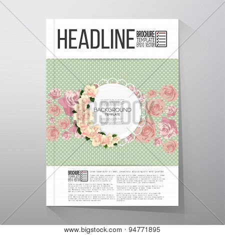 Floral background with place for text and pink flowers over green dotted background. Brochure or fly