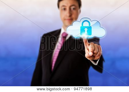 Smiling Businessman Touching A Locked Cloud Icon