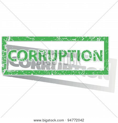 Green outlined CORRUPTION stamp