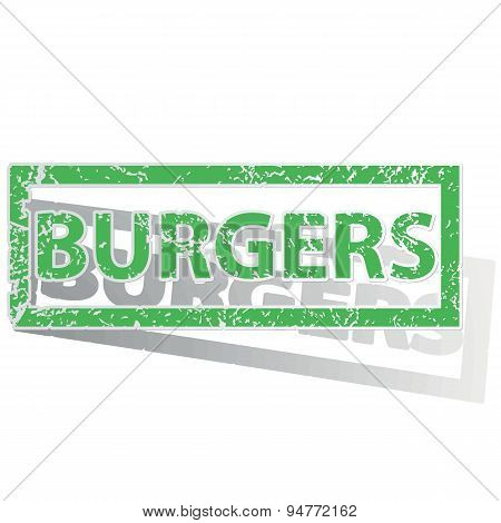 Green outlined BURGERS stamp