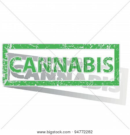 Green outlined CANNABIS stamp