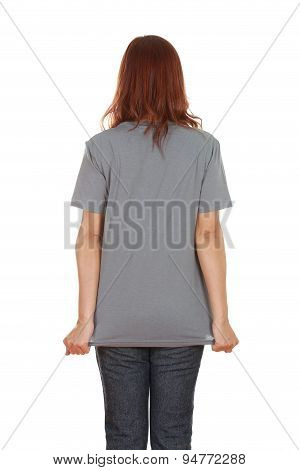 Female With Blank T-shirt (back Side)