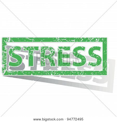 Green outlined STRESS stamp