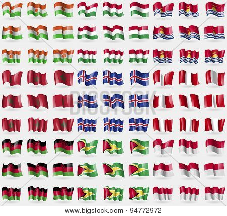 Niger, Hungary, Kiribati, Morocco, Iceland, Peru, Malawi, Guyana, Indonesia. Big Set Of 81 Flags. Ve