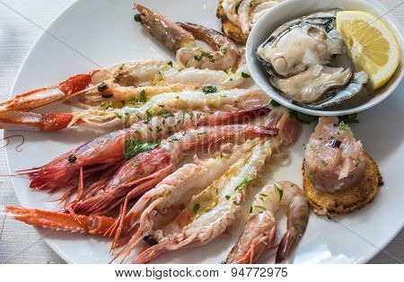 Delicious Seafood Carpaccio With Langoustines