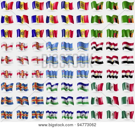 Moldova, Andorra, Zambia, Guernsey, Aruba, Egypt, Aland, Lesothe, Mexico. Big Set Of 81 Flags. Vecto