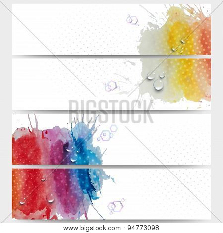 Abstract hand drawn watercolor background with empty place for text message. Web banners collection,