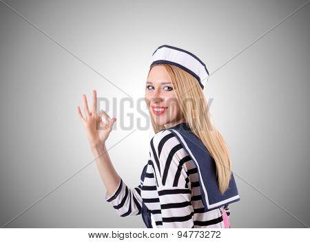 Woman sailor against the gradient background