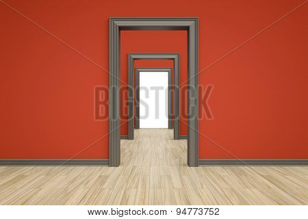 3D rendering of some rooms with a wooden floor