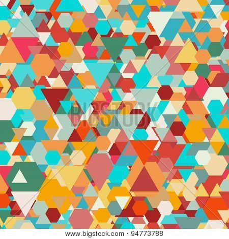 Colorful geometric background, abstract triangle-hexagonal pattern vector