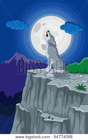 Cartoon Wolf howling under the full moon