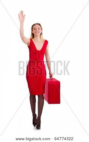 Red dress woman holding trunk isolated on white