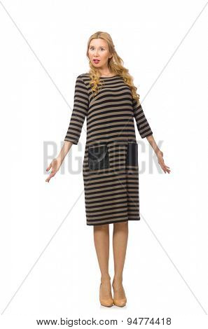 Pretty woman in brown dress isolated on white