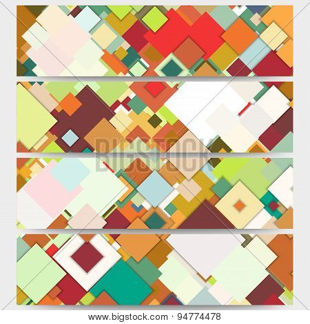 Web banners collection, abstract header layouts. Abstract colored backgrounds, square design, vector