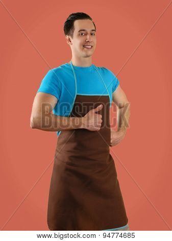 man in apron isolated on background