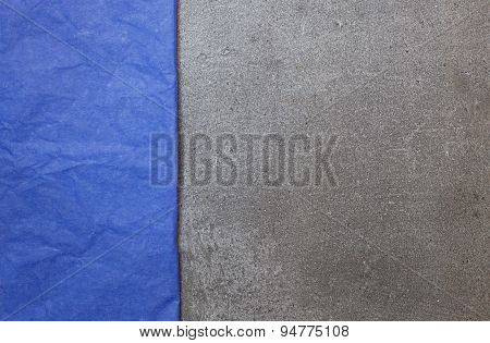 Background From Gray Stone With Blue Paper