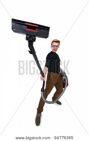 Funny man with vacuum cleaner on white