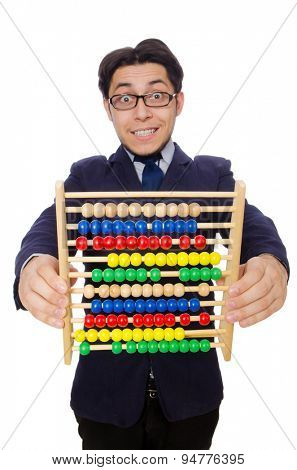 Funny businessman with abacus isolated on the white