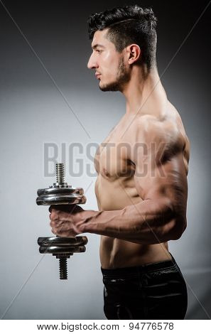 Muscular ripped bodybuilder with dumbbells