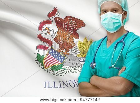 Surgeon With Us States Flags On Background Series - Illinois