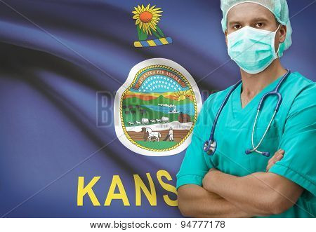 Surgeon With Us States Flags On Background Series - Kansas