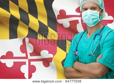 Surgeon With Us States Flags On Background Series - Maryland