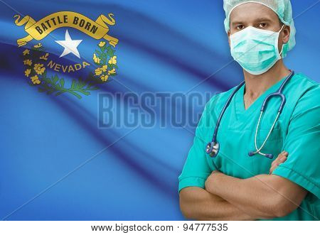 Surgeon With Us States Flags On Background Series - Nevada