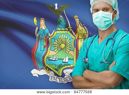 Surgeon With Us States Flags On Background Series - New York