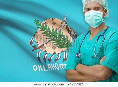 Surgeon With Us States Flags On Background Series - Oklahoma