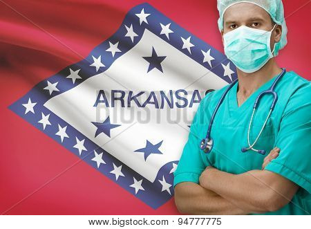 Surgeon With Us States Flags On Background Series - Arkansas