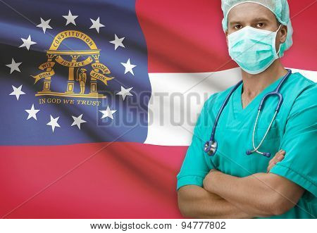 Surgeon With Us States Flags On Background Series - Georgia