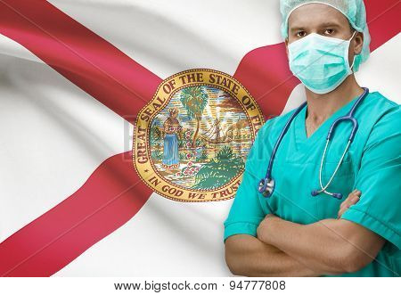 Surgeon With Us States Flags On Background Series - Florida