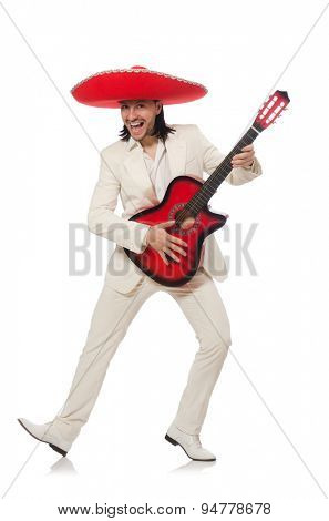 Mexican guitar player isolated on white