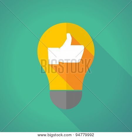 Long Shadow Light Bulb With A Thumb Up Hand