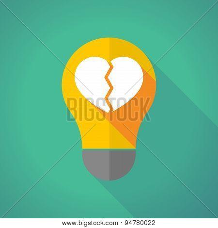 Long Shadow Light Bulb With A Broken Heart
