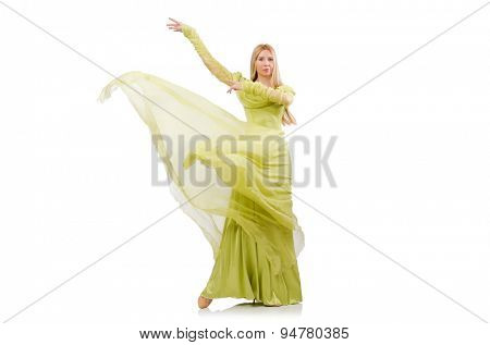 Pretty girl in elegant green dress isolated on white