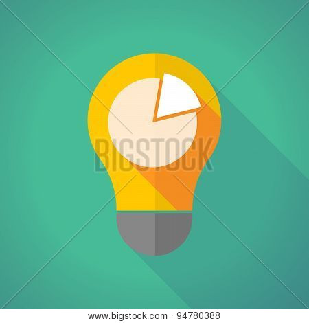 Long Shadow Light Bulb With A Pie Chart