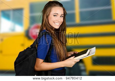 Student going to class at her college
