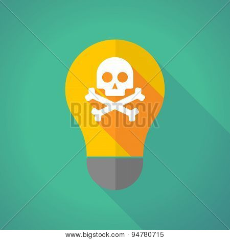 Long Shadow Light Bulb With A Skull