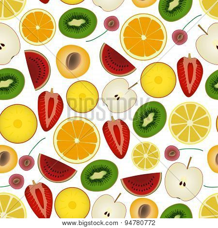 Colorful Sliced Various Fruit Summer Seamless Pattern Eps10