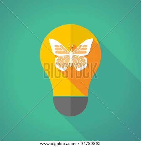 Long Shadow Light Bulb With A Butterfly